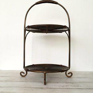 Small Bronze Metal 2 Tier Standing Shelf Decor